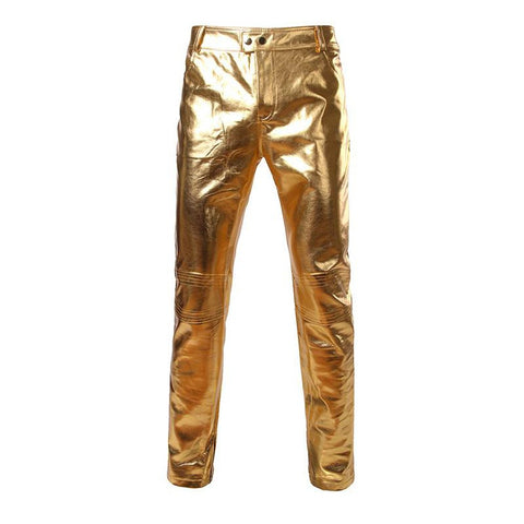 Men's Pants PU Leather Skinny for Motorcycle Nightclub Stage Singer Dancer