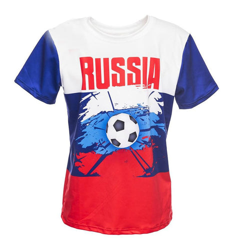 Men's T-shirt Russia Team Footballing Printed O-neck Casual Streetwear for Summer