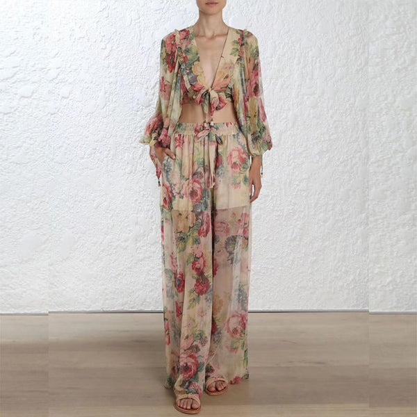 Women's Floral Print Suit 2pcs/set Casual V-neck Long Sleeve Blouse with Pants for Beach