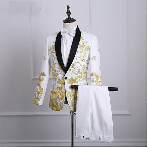 Men's Blazer and Pants Suit Set Rembroidered for Prom Stage Singer Costume