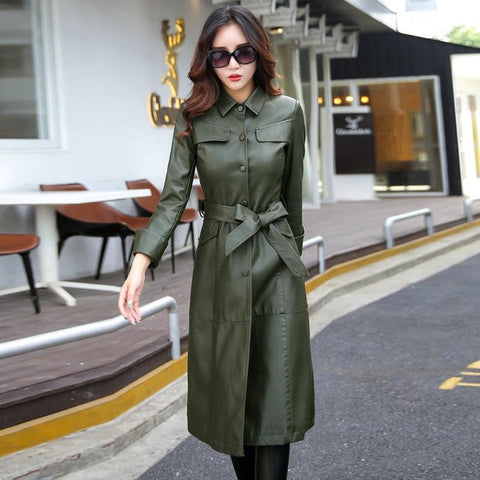 Women's Coat Long Leather Plus Size Turn Collar Single Covered Button Outwear