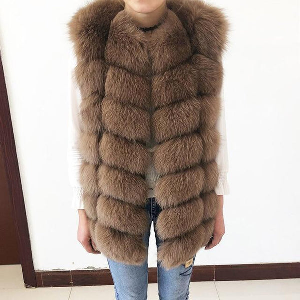 Woman's Coat Natural Real Fox Fur Short Sleeveless Warm for Winter