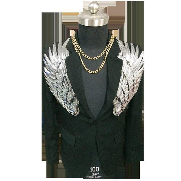 Men's Blazer Sequin Wing Slim Fit Stagewear