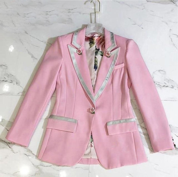Women's Blazer Long Sleeve Florar Lining Rose Buttons