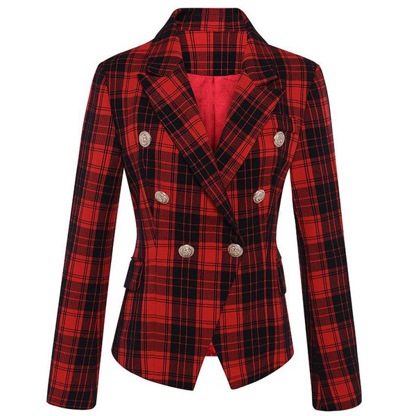 Women's Jacket Long Sleeve Double Breasted Lion Metal Buttons Classic Plaid