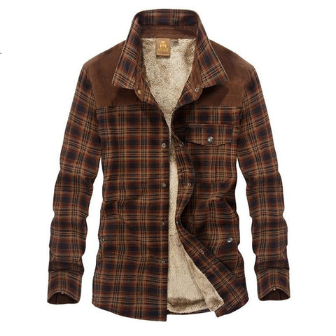 Men's Casual Shirt Military 100% Cotton Wool Thick Warm Plaid Fleece for Winter