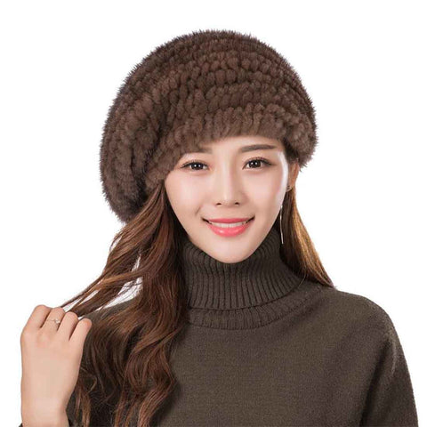 Women's Hat Fur Mink Knitted Warm Velvet