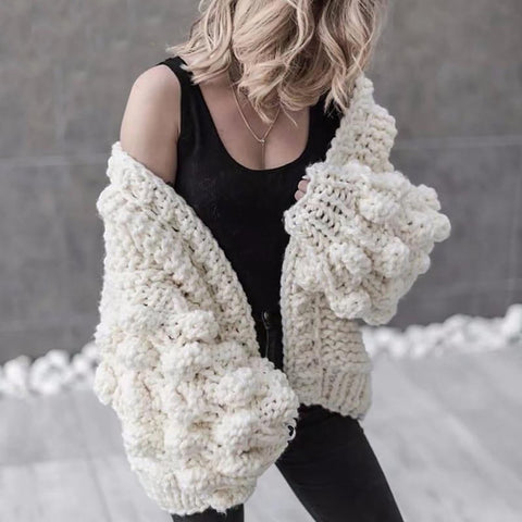 Women's Coat Hand Knitted Long Sleeve for Winter