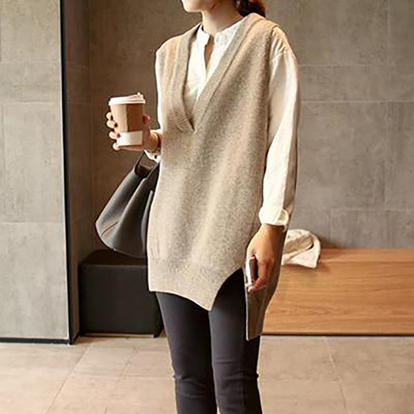 Women's Pullover Short Front Long Back Style V-neck Mid-long Loose Sleeveless