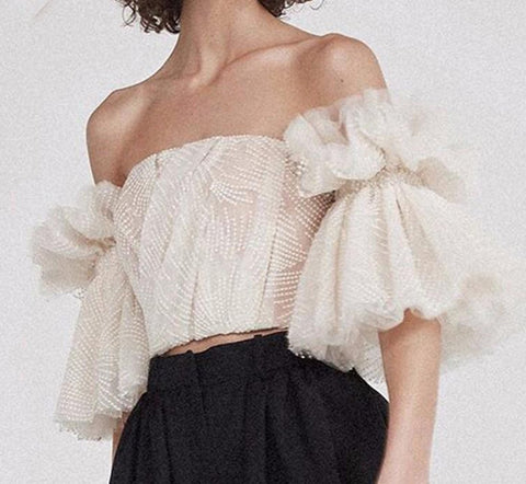 Women's Shirt Stapless Off Shoulder Embroidery Ruffles Flase Sleeve Short for Summer