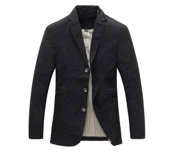 Men's Blazer 100% Cotton Casual Military for Spring