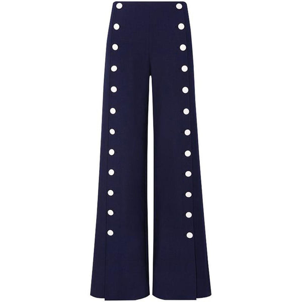 Women's Pants Buttons Embellished Wide Leg