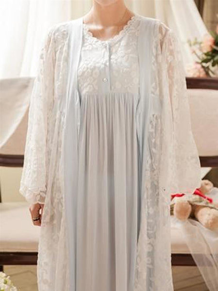 Women's Nightgown Set Vintage Lace Embroidery Sleepwear Princess Style