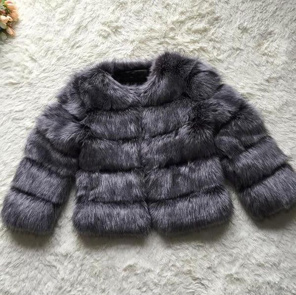 Women's Coat Faux Fox Fur Warm for Winter Autumn