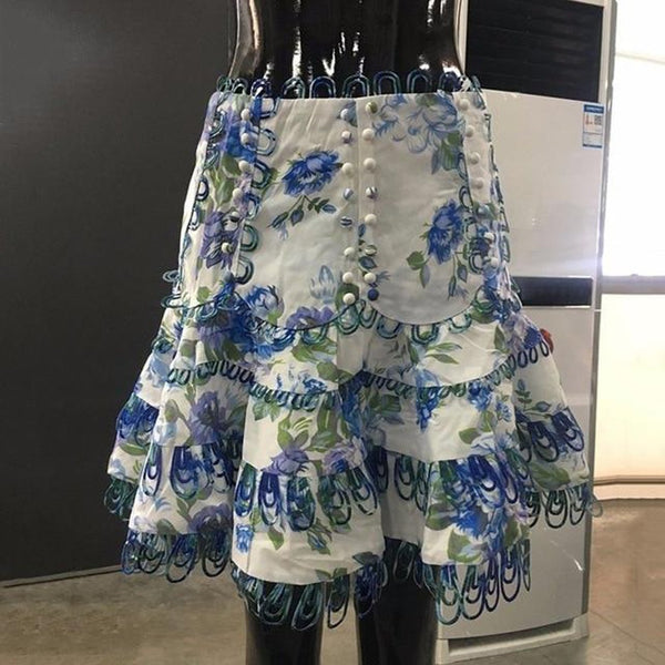 Women's Skirt Printed Flower Ball Gown High Waist Embroidery Mini for Beach Summer