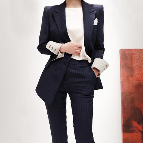 Women's Blazer and Pants Suit Set Striped Korean Double Breasted Formal for Business Work Office
