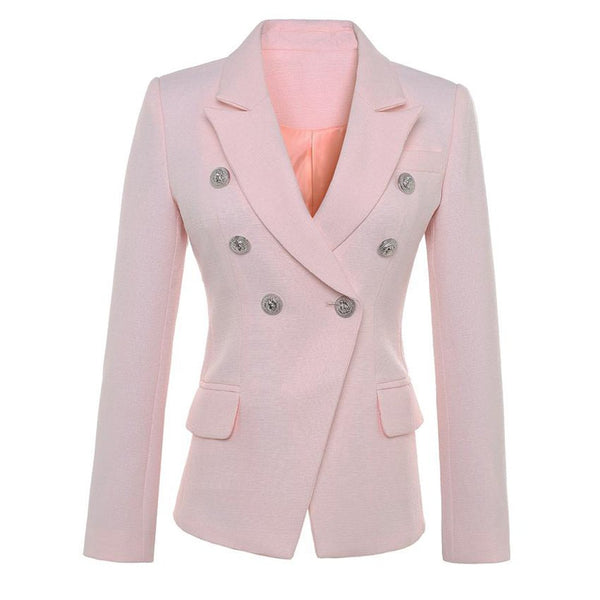 Women's Blazer Lion Buttons Double Breasted Plus Size