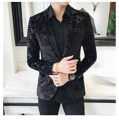 Men's Blazer Slim Fit Velvet Floral Casual for Prom