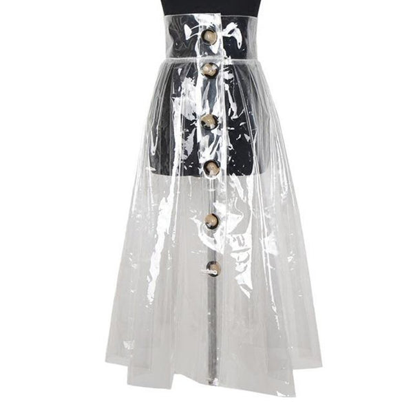 Women's Skirt High Waist Button Transparent Asymmetrical Double Pockets for Autumn