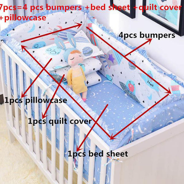 Baby's Bedding Set 7pcs Includes Crib Bumpers 4pcs+ Bed Sheet+ Pillow Case+ Quilt Cover Set 100% Cotton Protector Safe