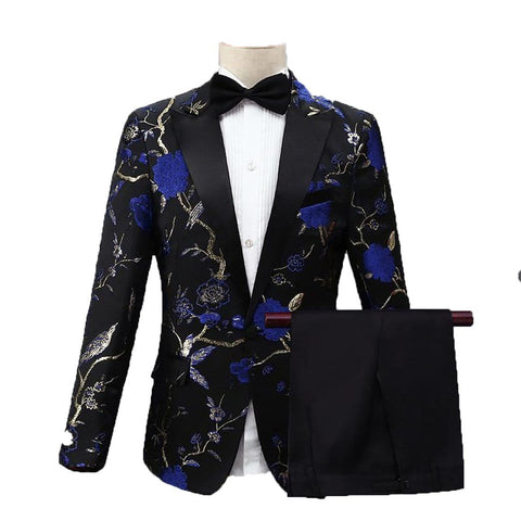 Men's Tuxedo Costume Stylish Embroidery Floral Pattern for Stage Wedding Groom Singer