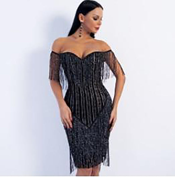 Women's Dress Off Shoulder Striped Glitter Elegant Tassel for Spring Party