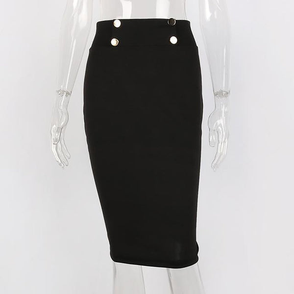 Women's Skirt High Waist Pencil Mid-calf Length Bodycon Slim Casual for Summer Office