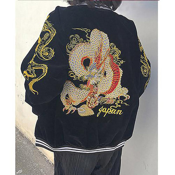 Women's Jacket Japan Wind Design Streetwear Baseball Uniform Dragon Embroidered Corduroy Zipper
