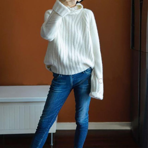 Women's Sweater Cashmere Warm Wool Casual Full Sleeve Turtleneck Loose Knitted for Winter