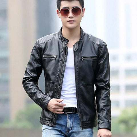 Men's Leather Jacket Stand Collar Casual for Motorcycle