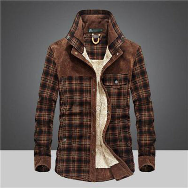 Men's Plaid Shirt Thick Warm 100% Wool Fleece Long Sleeves Military for Winter