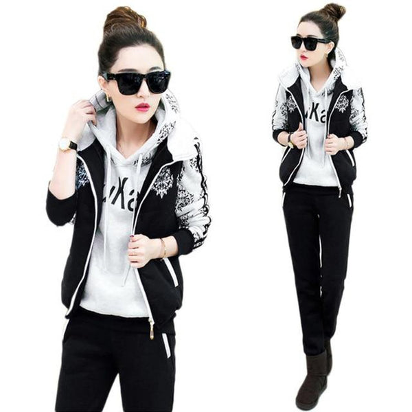 Women's Hoodie Vest and Pants Tracksuit 3pcs/set Casual Velvet Sporting for Winter