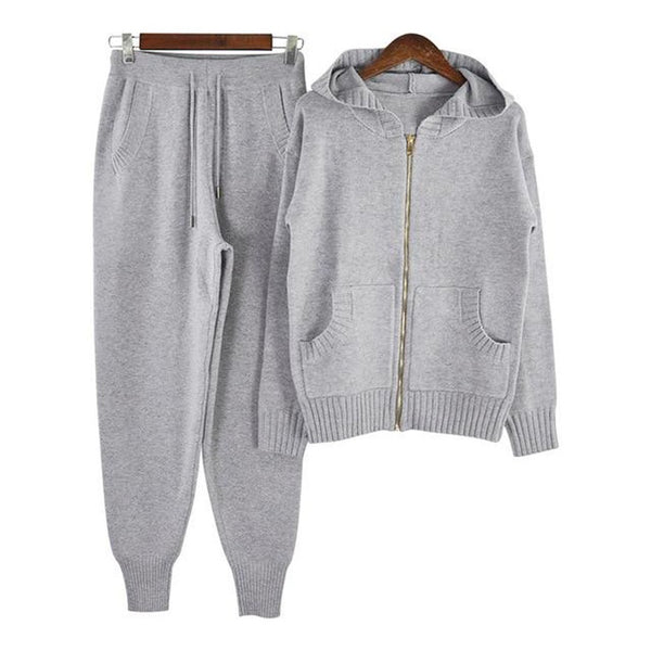 Women's Sweater and Pants Tracksuit 2pcs/set Pocket Zipper Knitted Hooded Sportwear