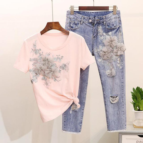 Women's T-shirt and Pants Set 2pcs Heavy Work Embroidery Flower Vogue Stylish European for Summer