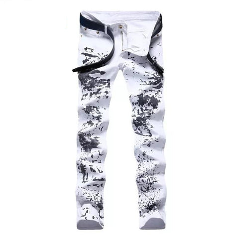 Men's Jeans Stretch Printing Slim Fit Straight
