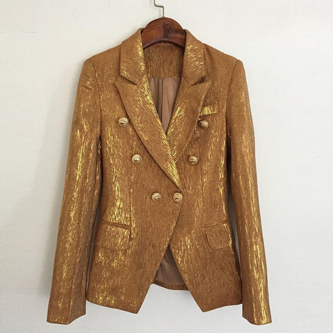 Women's Blazer Double Breasted Lion Metal ButtonsOuter Wear
