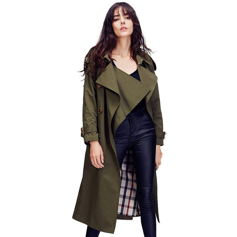Women's Coat Double Breasted Trench Wasserfall Collar Loose Outwear for Autumn