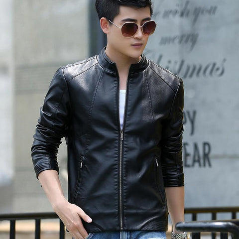 Men's Leather Jacket Slim Stand Collar Short Sheepskin Outwear fpr Spring Autumn Motorcycle
