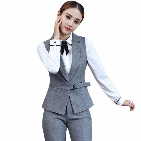Women's Blazer and Pant Suit 2 pcs/set Elegant Sleeveless with Belt for Office Work