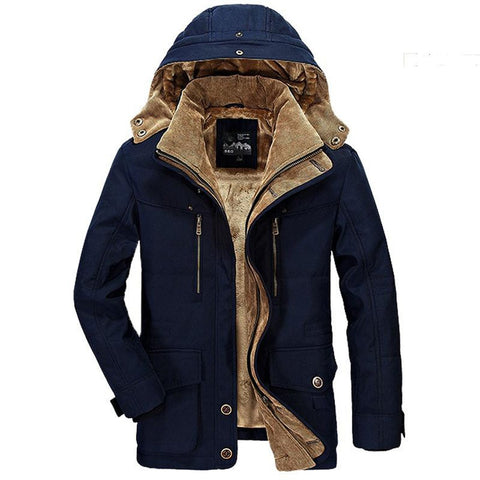 Men's Jacket Thickening Hooded Military Cotton Padded Warm Fleece Fur Plus Size for Winter