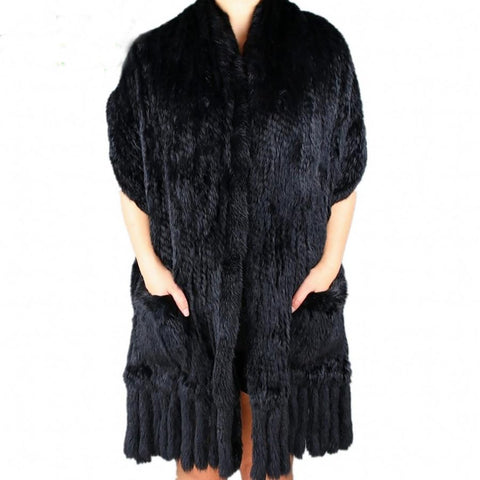Women's Shawl Real Knitted Rabbit Fur Tassels for Autumn Winter