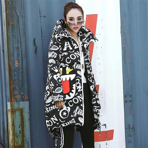 Women's Coat Printed Loose Thicken Warm Coat Hooded Cloak Padded Plus Size for Winter Snow