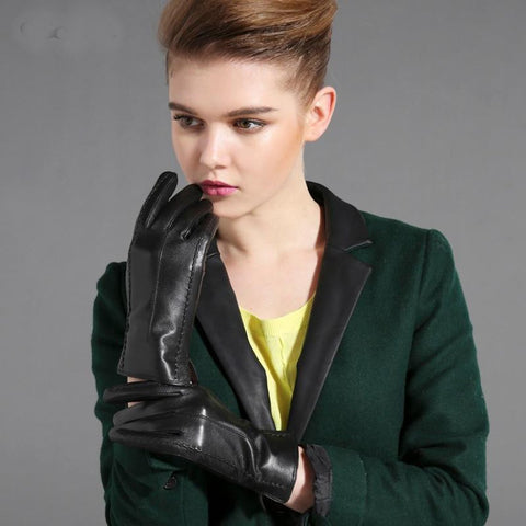 Women's Gloves Leather Goatskin Warm for Winter