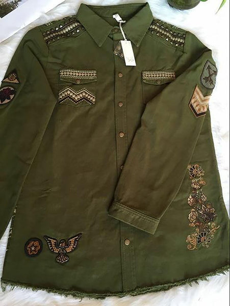 Women's Jacket Rivets Floral Embroidery Embellished Front Pockets Cotton Loose for Spring