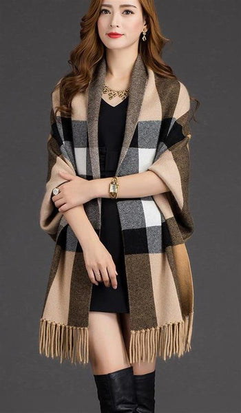 Woman's Poncho Knit Plaid Oversized Wool Tassel for Winter