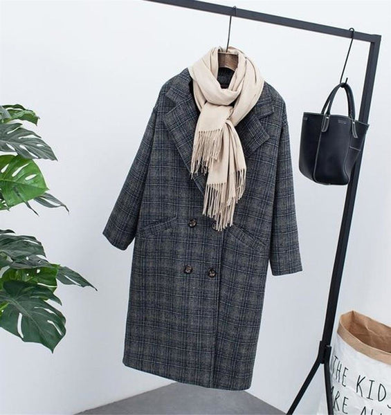 Women's Jacket Velvet Thick Woolen Korean Long Loose Large Size Plaid for Winter