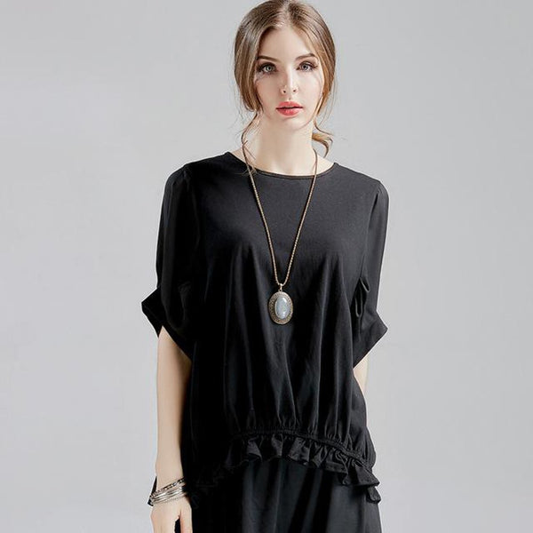 Women's Blouse Plus Size Chiffon O-neck Spliced Half Sleeve for Summer