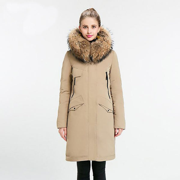 Women's Jacket Full Solid Mid-long Stand Collar Hood Oversize Real Fur Thick for Winter