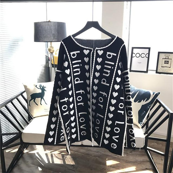 Women's Sweater Wool Letters Knitted Loose Long