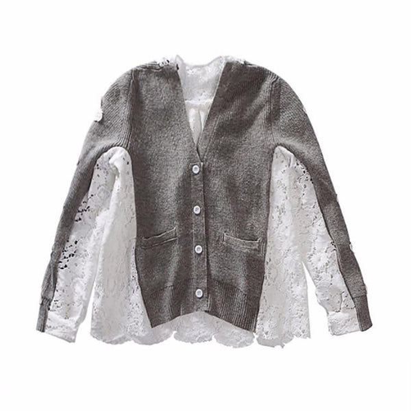 Women's Shirt Patchwork Lace Long Sleeve Single Breasted V-neck for Autumn Winter